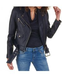 MICHAEL Michael Kors - Leather Jacket In Blue - Lyst
