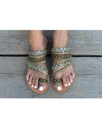 Atterley - Leather Sandals With Multi Gold Straps - Lyst