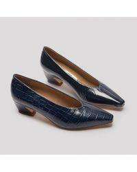 e45f7dedd1b Miista - Antonine Navy Croc Glossed Leather Mid-heels - Lyst