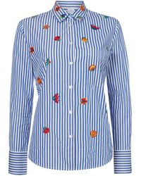 Paul Smith - Stripe Embroidered Shirt Blue - Lyst