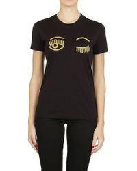 e1b4979d Chiara Ferragni - CHIARA FERRAGNI t-shirt occhi oro nera - Lyst