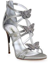 Nina Lilou - Ninalilou Swarowski Butterflies Grey Heeled Sandal 36 - Lyst