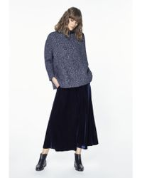 Paisie - Oversized Chunky Funnel Neck Jumper In Marl Navy - Lyst