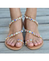 Atterley - Leather Sandals Jewelled In Crystals - Lyst