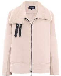 Armani Jeans - Faux Shearling Buckle Jacket - Lyst