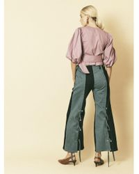 House Of Sunny - Denim Eyelet Trousers In Blue - Lyst