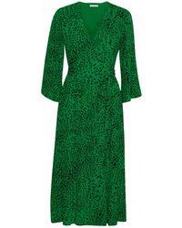 Gestuz - Loui Green Leopard Print Wrap Dress - Lyst