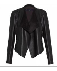 French Connection - Pu Waterfall Jacket Black - Lyst