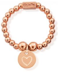 ChloBo - Mini Ball Ring With Heart In Circle - Lyst