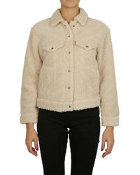 Levi's - Shearling Coat In Cream - Lyst