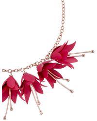 Ted Baker - Women's Fawna Fuchsia Drop Flower Pendant Necklace - Lyst