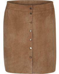 Second Female - Olive Suede Skirt - Lyst