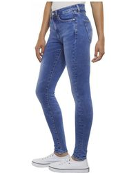6ad6490d Tommy Hilfiger - Tommy Jeans High Rise Super Skinny Azel Light Blue - Lyst