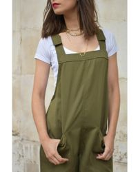 Native Youth - Dungaree Olive Playsuit - Lyst