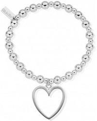ChloBo - Mini Small Ball Bracelet With Open Heart Charm - Lyst