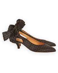 edf040efd243 Ganni Leather Sabine Snake-effect Pointed-toe Bow Tie Slingback ...