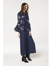Paisie - Round Neck Floral Top With Fluted Tie Sleeves In Navy Floral - Lyst