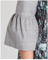I'm Isola Marras - Printed Dress With Check Details In Grey - Lyst
