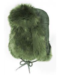 Charlotte Simone - Helmet Khaki Faux Fur Hat - Lyst