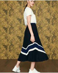 8d42274a936c04 Lyst - Alexander Wang Pleated Printed Skirt Aqua in Blue
