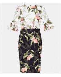 Ted Baker - Areea Peach Blossom Dress Black - Lyst