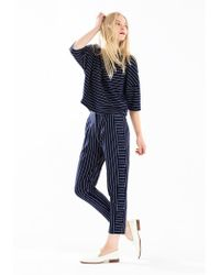 Paisie - Striped Jersey Top With Front Neck Pleat In Navy And White - Lyst
