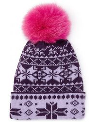 Rose & Rose - Brenner Pass Bobble Hat In Plum And Purple - Lyst