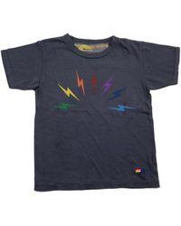 Aviator Nation - Cropped Grey Rainbow Bolt T-shirt - Lyst
