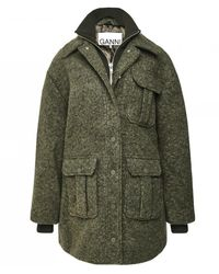 Ganni - Oversized Boucle Wool Jacket - Lyst