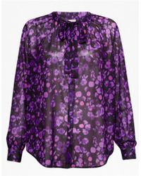 Great Plains - Abstract Floral Tie Neck Top - Lyst