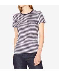 Sunspel - Short Sleeve Striped Crew T-shirt In Navy / White - Lyst