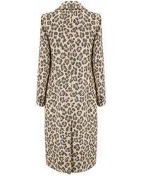 Smythe - Peaked Lapel Coat In Leopard - Lyst