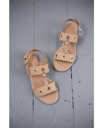 Vanessa Bruno Athé - Calfskin Leather Eyelet Sandals - Lyst