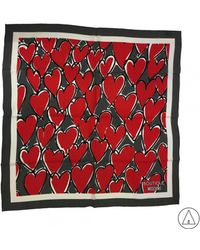 Boutique Moschino - Heart Print Scarf In Grey - Lyst