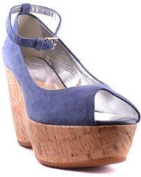Hogan - Women's Mcbi148055o Blue Suede Wedges - Lyst