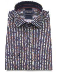 Guide London - Ls.74785 Navy Bold Stripe Shirt - Lyst