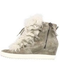 Kennel & Schmenger - Grey Suede High Top Trainers With Fur 41-50520-544 - Lyst