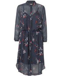 Munthe - Navy Floral Print Shirt Dress - Lyst