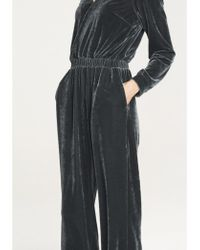 e46a24f436fb Paisie - Velvet Jumpsuit With Wrap Front And Elastic Waistband In Dark Grey  - Lyst