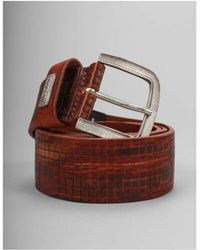 Replay - Leather Mosaic Tiled Belt - Lyst