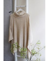 A Postcard From Brighton - Blankie Roll Neck Poncho Coconut White - Lyst