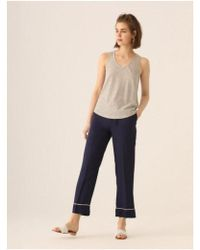 Nice Things - Linen Stripe Vest In Navy - Lyst