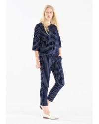 Paisie - Striped Jersey Trousers With Side Panel Detail In Navy And White - Lyst