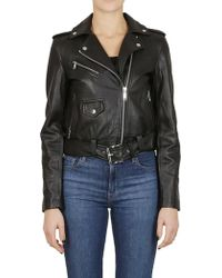 317551521 Michael Kors Quilted Leather Biker Jacket in Brown - Lyst