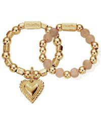 ChloBo - Cherabella Graceful Heart Set Of 2 Rings - Lyst