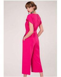 Closet - Pink Kimono Cropped Leg Jumpsuit - Lyst