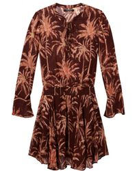 Maison Scotch - Tropical Print Dress Rust - Lyst