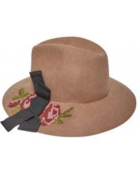 Rada' - Hand Embroidered Wool Trilby - Lyst