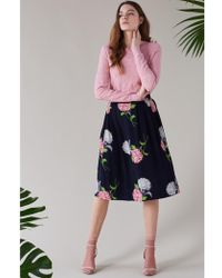 Emily and Fin - Faye Dahlia Floral Pleated Skirt - Lyst