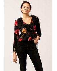 Azalea | Floral V-neck Ruffle Top | Lyst